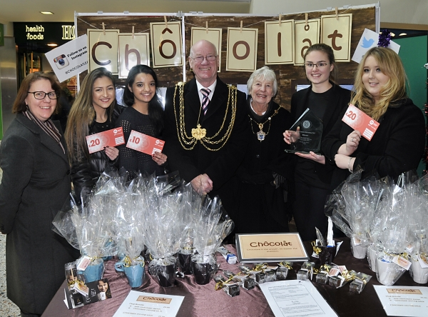 Chocolat with Lord Mayor & Lady Mayoress of Leeds & Susan from Merrion Centre Management